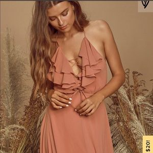 Lulu's Meredith Dusty Rose Lace Up Maxi Dress